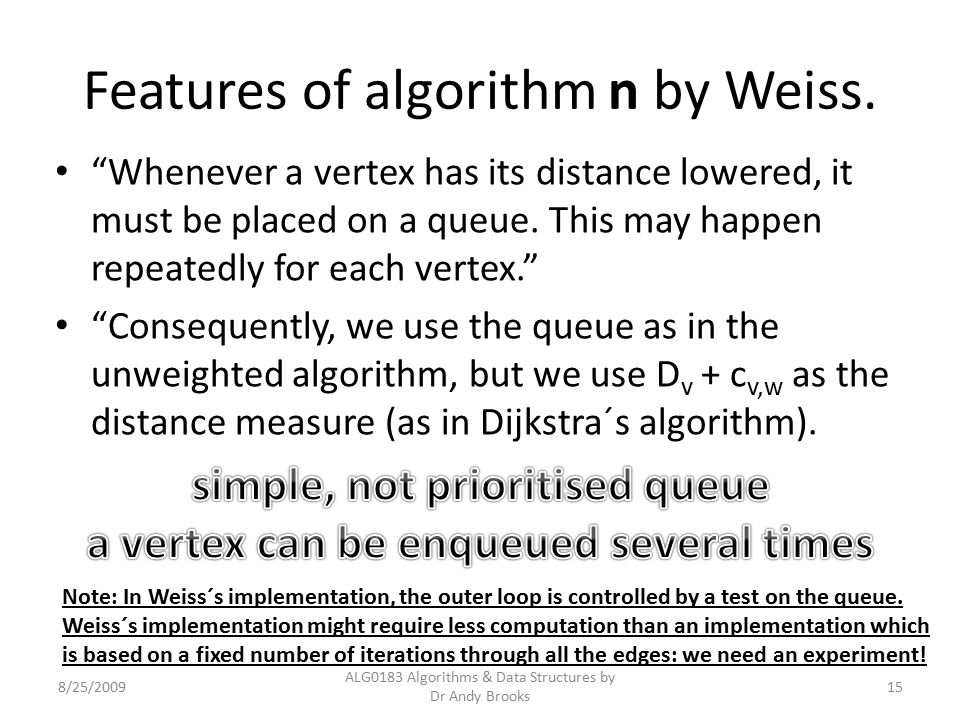 "Features of algorithm n by Weiss. ""Whenever a vertex has its distance lowered, it must be placed on a queue. This may happen repeatedly for each verte"