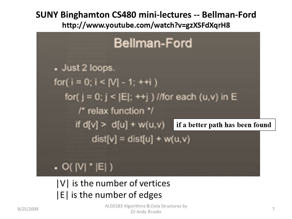 SUNY Binghamton CS480 mini-lectures -- Bellman-Ford http://www.youtube.com/watch?v=gzXSFdXqrH8 8/25/2009 ALG0183 Algorithms & Data Structures by Dr An