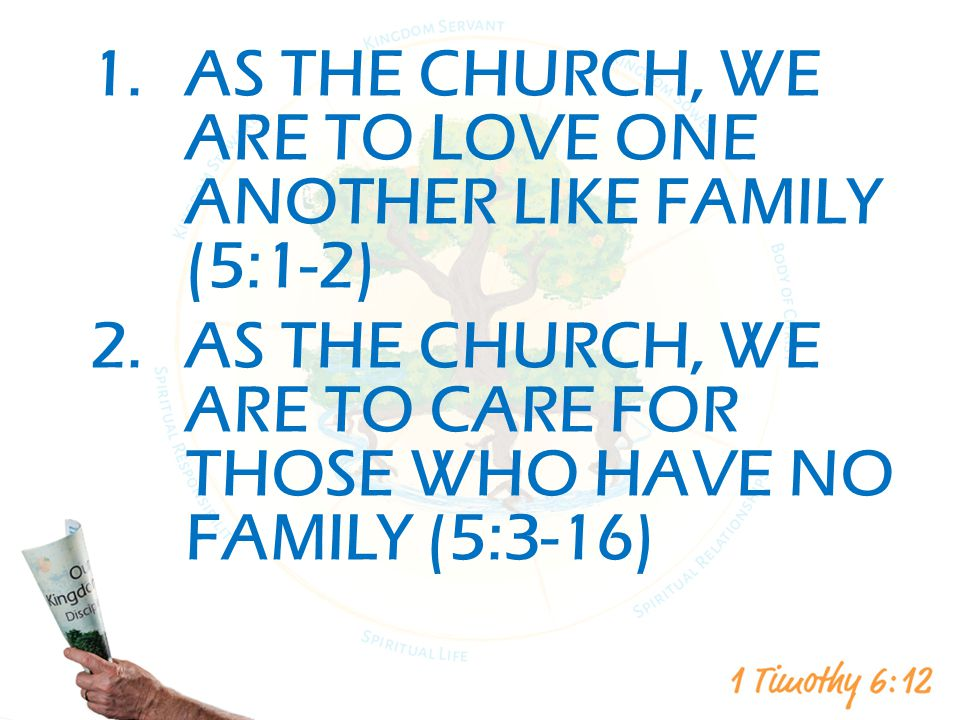 1.AS THE CHURCH, WE ARE TO LOVE ONE ANOTHER LIKE FAMILY (5:1-2) 2.AS THE CHURCH, WE ARE TO CARE FOR THOSE WHO HAVE NO FAMILY (5:3-16)