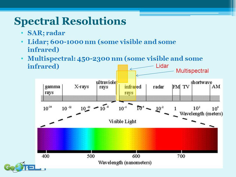 SAR; radar Lidar; 600-1000 nm (some visible and some infrared) Multispectral: 450-2300 nm (some visible and some infrared) Lidar Multispectral