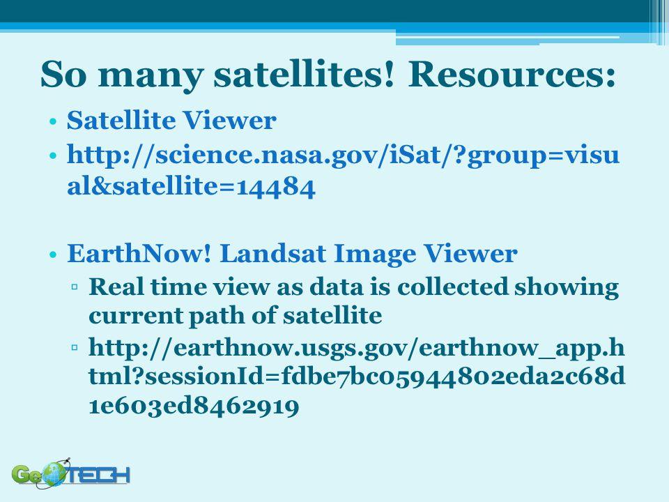So many satellites! Resources: Satellite Viewer http://science.nasa.gov/iSat/?group=visu al&satellite=14484 EarthNow! Landsat Image Viewer ▫Real time