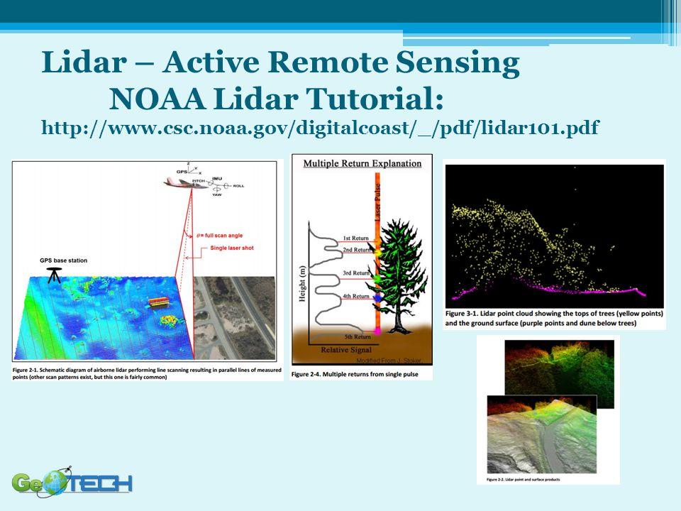 Lidar – Active Remote Sensing NOAA Lidar Tutorial: http://www.csc.noaa.gov/digitalcoast/_/pdf/lidar101.pdf