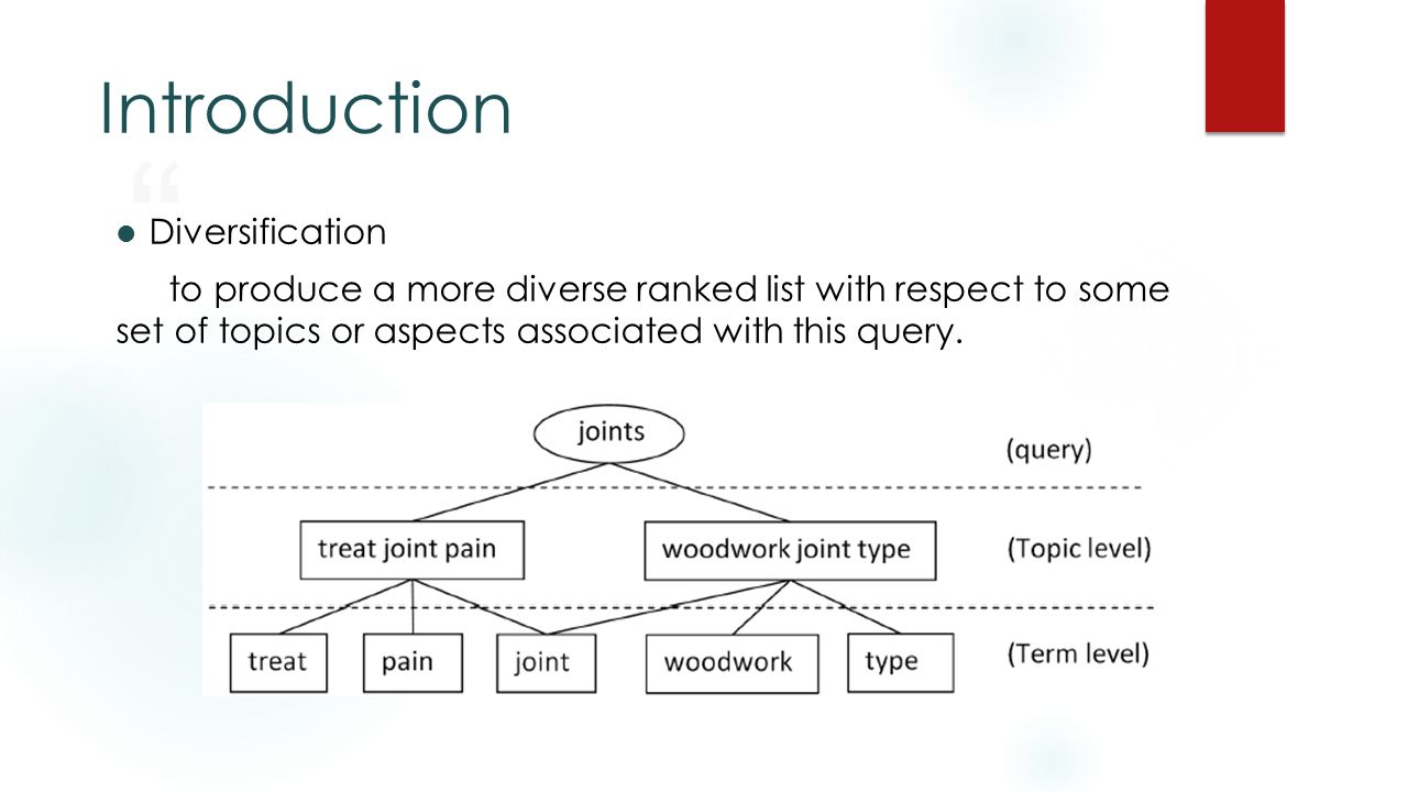Introduction Diversification to produce a more diverse ranked list with respect to some set of topics or aspects associated with this query.