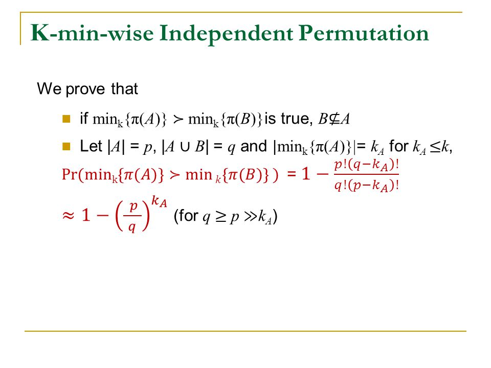 K -min-wise Independent Permutation
