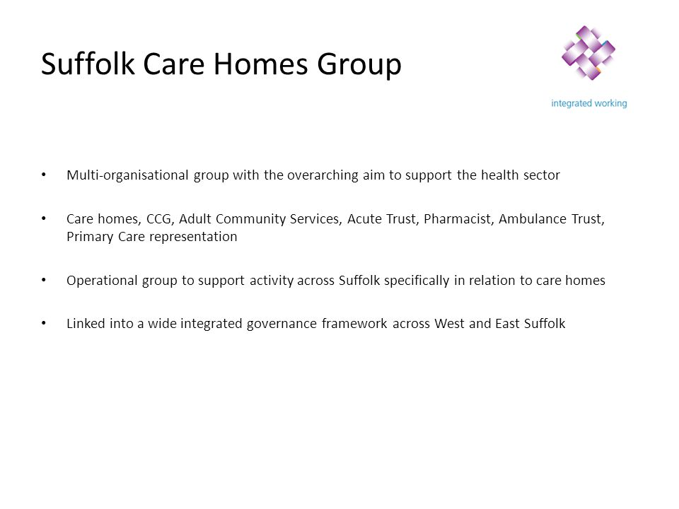 Integrated Care Operational Forum Integrated Care Steering Group West Suffolk System forum Care Homes Group Operational Pathways Quality Functions Visits/ inspections Assessment tools Training opportunities/ workforce Enhanced services Pathways mapping Data dashboard Suffolk End of Life Education Group Integrated Care Workstream Ipswich and East Suffolk Urgent Care System Group East Suffolk West Suffolk Patient/customer experience Ipswich and East Suffolk System Forum Care Homes Clinical Support Manager (WSFT)