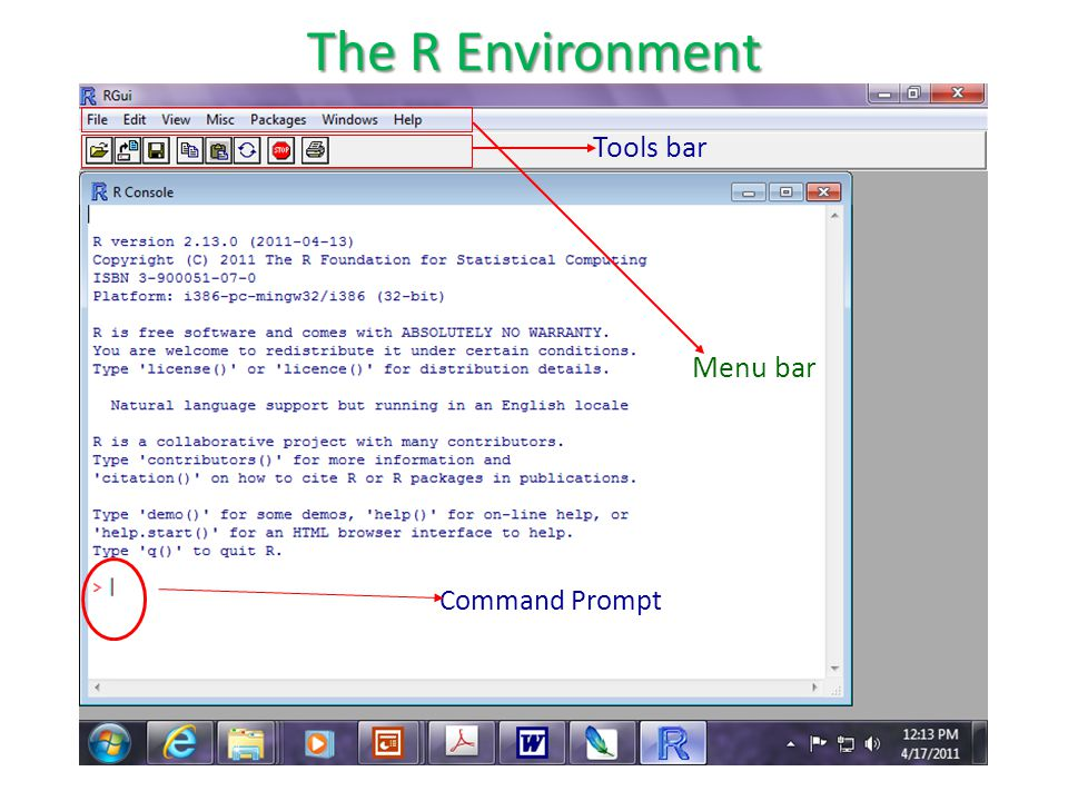 Command Prompt Tools bar Menu bar The R Environment