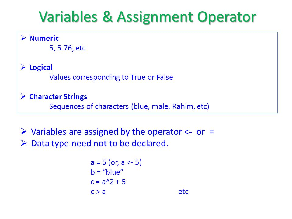  Numeric 5, 5.76, etc  Logical Values corresponding to True or False  Character Strings Sequences of characters (blue, male, Rahim, etc)  Variables are assigned by the operator <- or =  Data type need not to be declared.