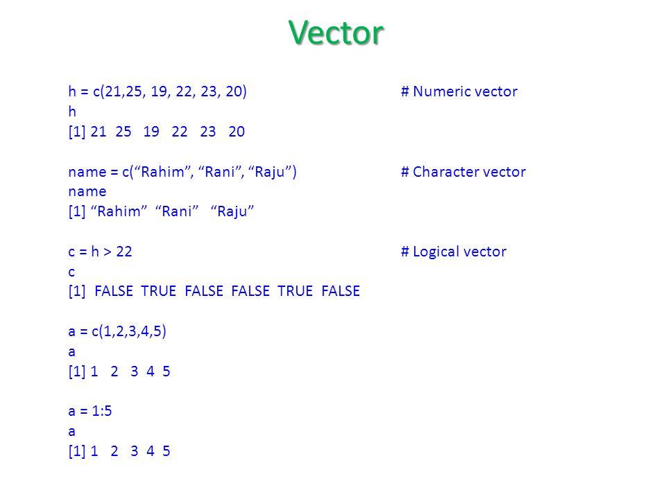 h = c(21,25, 19, 22, 23, 20)# Numeric vector h [1] 21 25 19 22 23 20 name = c( Rahim , Rani , Raju ) # Character vector name [1] Rahim Rani Raju c = h > 22 # Logical vector c [1] FALSE TRUE FALSE FALSE TRUE FALSE a = c(1,2,3,4,5) a [1] 1 2 3 4 5 a = 1:5 a [1] 1 2 3 4 5 Vector