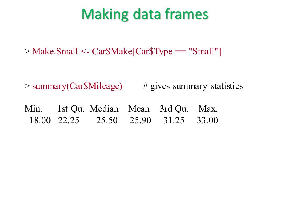 > Make.Small <- Car$Make[Car$Type == Small ] > summary(Car$Mileage) # gives summary statistics Min.