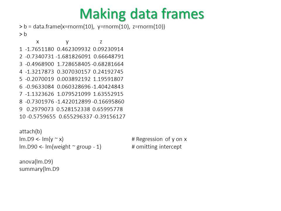 > b = data.frame(x=rnorm(10), y=rnorm(10), z=rnorm(10)) > b x y z 1 -1.7651180 0.462309932 0.09230914 2 -0.7340731 -1.681826091 0.66648791 3 -0.4968900 1.728658405 -0.68281664 4 -1.3217873 0.307030157 0.24192745 5 -0.2070019 0.003892192 1.19591807 6 -0.9633084 0.060328696 -1.40424843 7 -1.1323626 1.079521099 1.63552915 8 -0.7301976 -1.422012899 -0.16695860 9 0.2979073 0.528152338 0.65995778 10 -0.5759655 0.655296337 -0.39156127 attach(b) lm.D9 <- lm(y ~ x)# Regression of y on x lm.D90 <- lm(weight ~ group - 1) # omitting intercept anova(lm.D9) summary(lm.D9 Making data frames