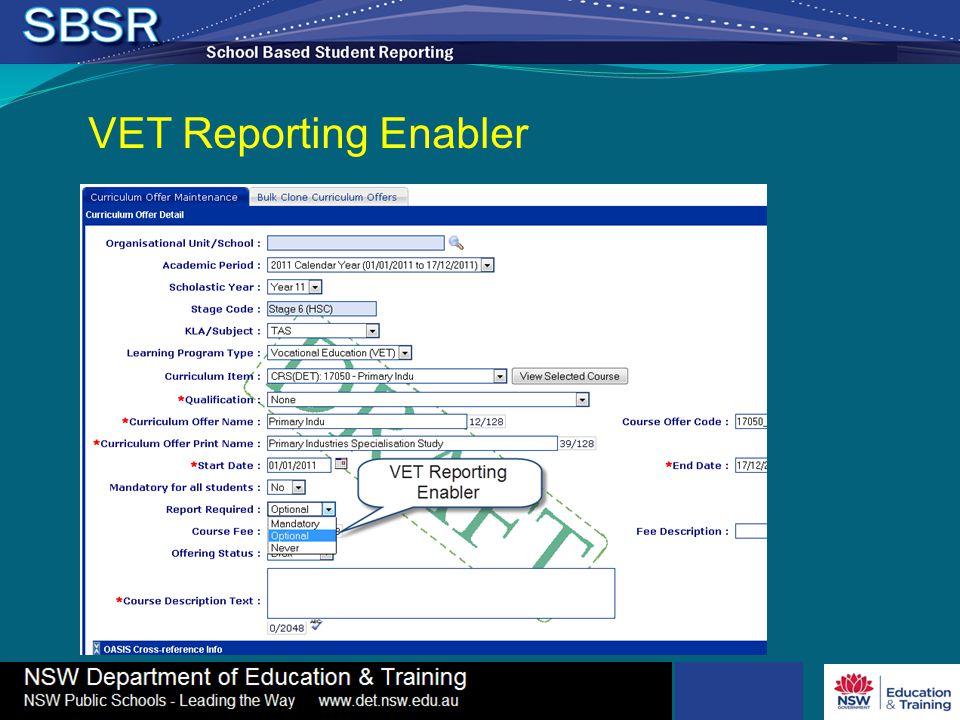 VET Reporting Enabler