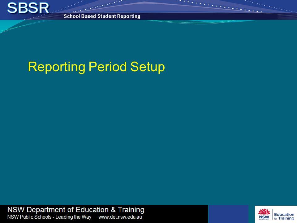 Reporting Period Setup