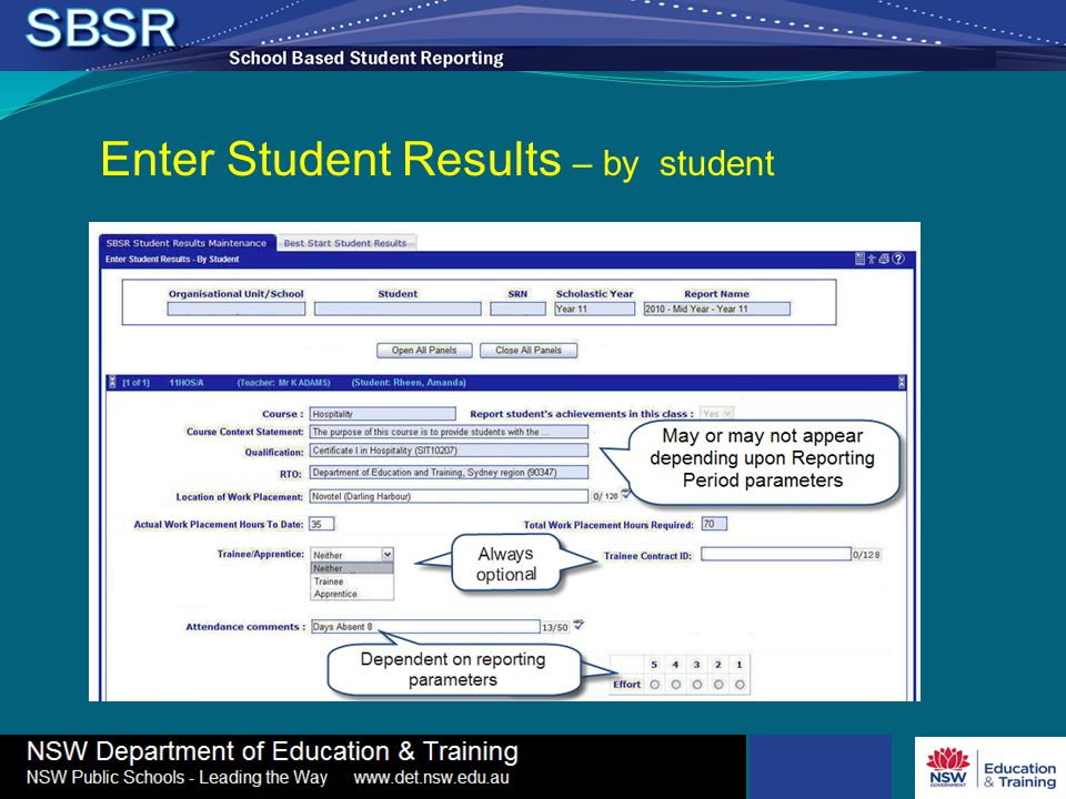 Enter Student Results – by student