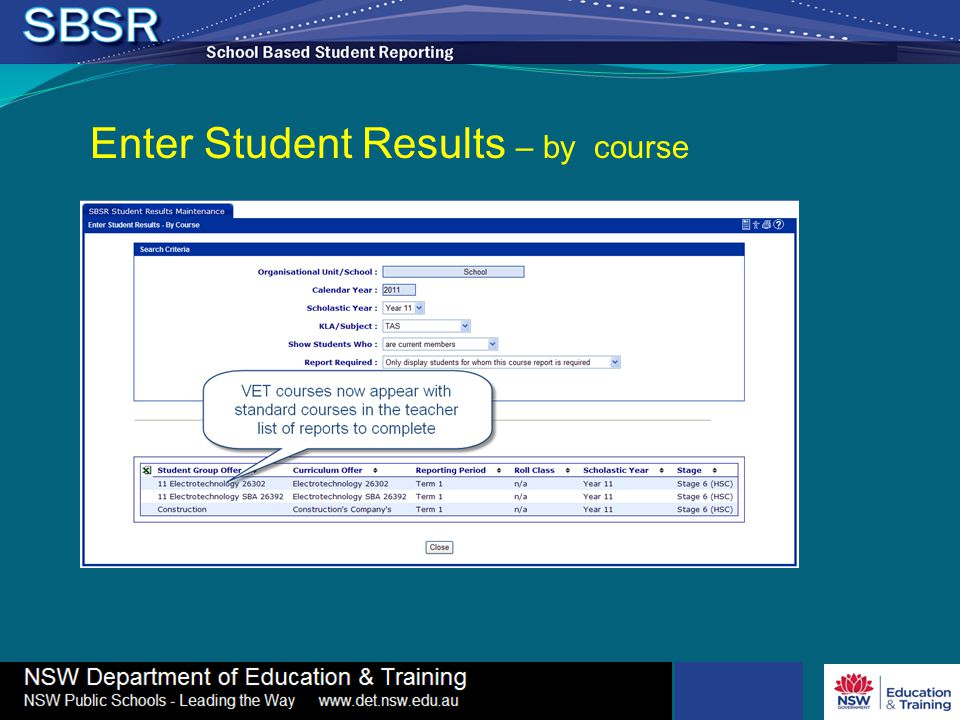 Enter Student Results – by course
