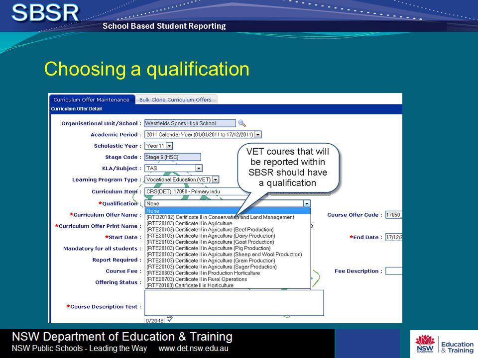 Choosing a qualification