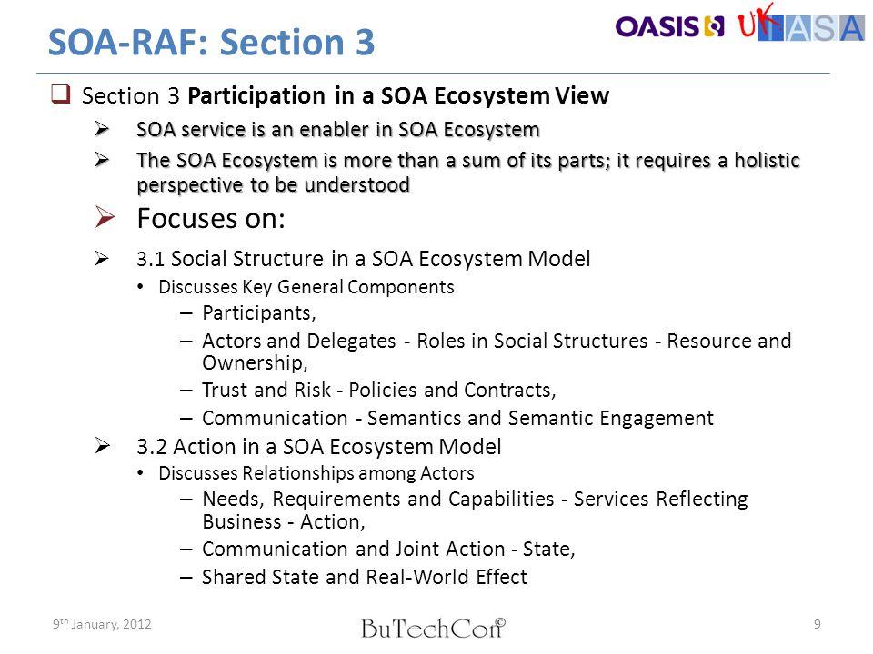 Social Structure in SOA Ecosystem Participants, Actors & Delegates (OASIS SOA RAF) Participant Roles in a Service (OASIS SOA RAF) 109 th January, 2012 Contract & Policy (OASIS SOA RAF) ESB platform