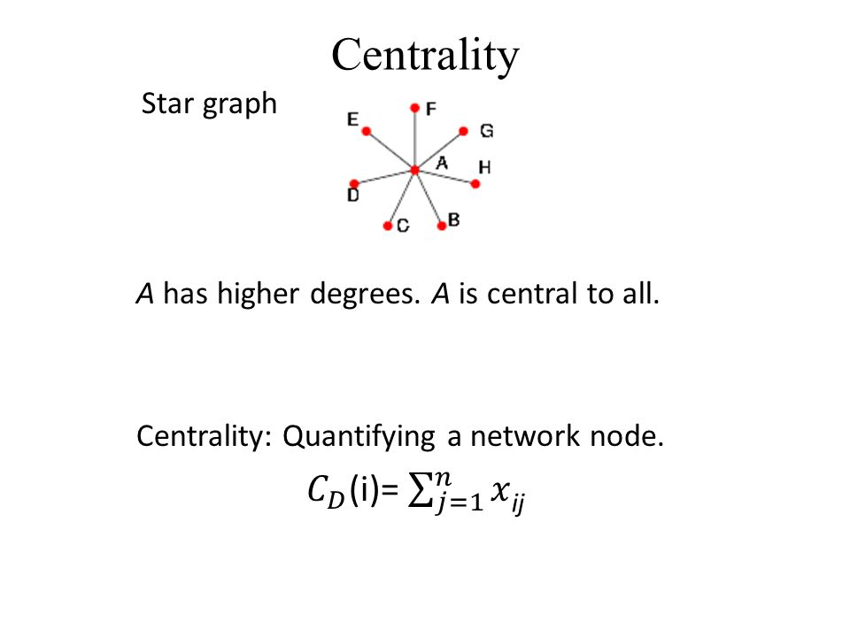 Normalized Centrality Centrality: Normalized Centrality: A is more central than F A F D B CE ' 6-1 = = 80%,,,,