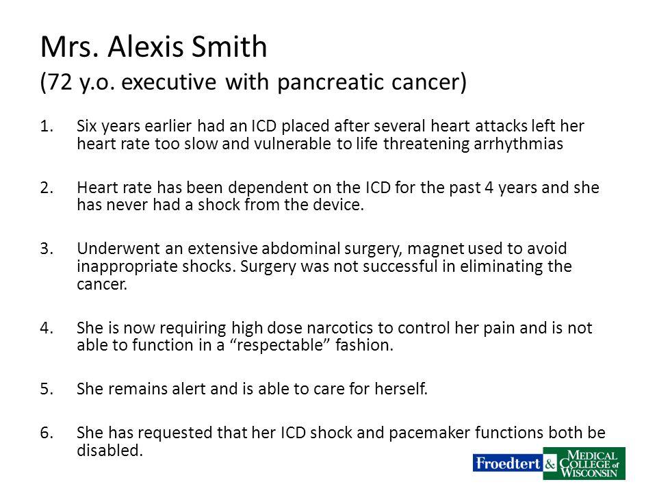 Mrs. Alexis Smith (72 y.o.