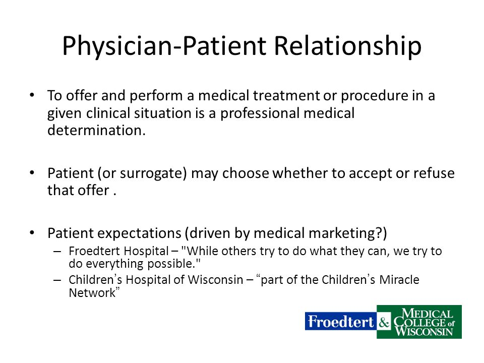 Physician-Patient Relationship To offer and perform a medical treatment or procedure in a given clinical situation is a professional medical determination.