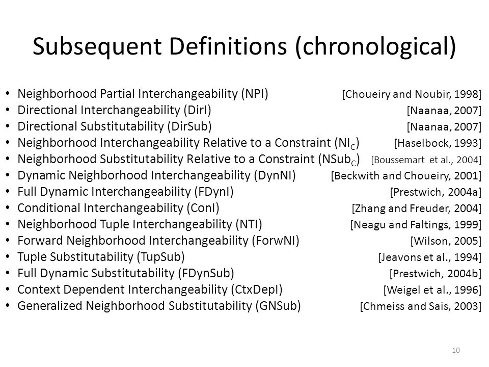 Subsequent Definitions (chronological) Neighborhood Partial Interchangeability (NPI) [Choueiry and Noubir, 1998] Directional Interchangeability (DirI) [Naanaa, 2007] Directional Substitutability (DirSub) [Naanaa, 2007] Neighborhood Interchangeability Relative to a Constraint (NI C ) [Haselbock, 1993] Neighborhood Substitutability Relative to a Constraint (NSub C ) [Boussemart et al., 2004] Dynamic Neighborhood Interchangeability (DynNI) [Beckwith and Choueiry, 2001] Full Dynamic Interchangeability (FDynI) [Prestwich, 2004a] Conditional Interchangeability (ConI) [Zhang and Freuder, 2004] Neighborhood Tuple Interchangeability (NTI) [Neagu and Faltings, 1999] Forward Neighborhood Interchangeability (ForwNI) [Wilson, 2005] Tuple Substitutability (TupSub) [Jeavons et al., 1994] Full Dynamic Substitutability (FDynSub) [Prestwich, 2004b] Context Dependent Interchangeability (CtxDepI) [Weigel et al., 1996] Generalized Neighborhood Substitutability (GNSub) [Chmeiss and Sais, 2003] 10