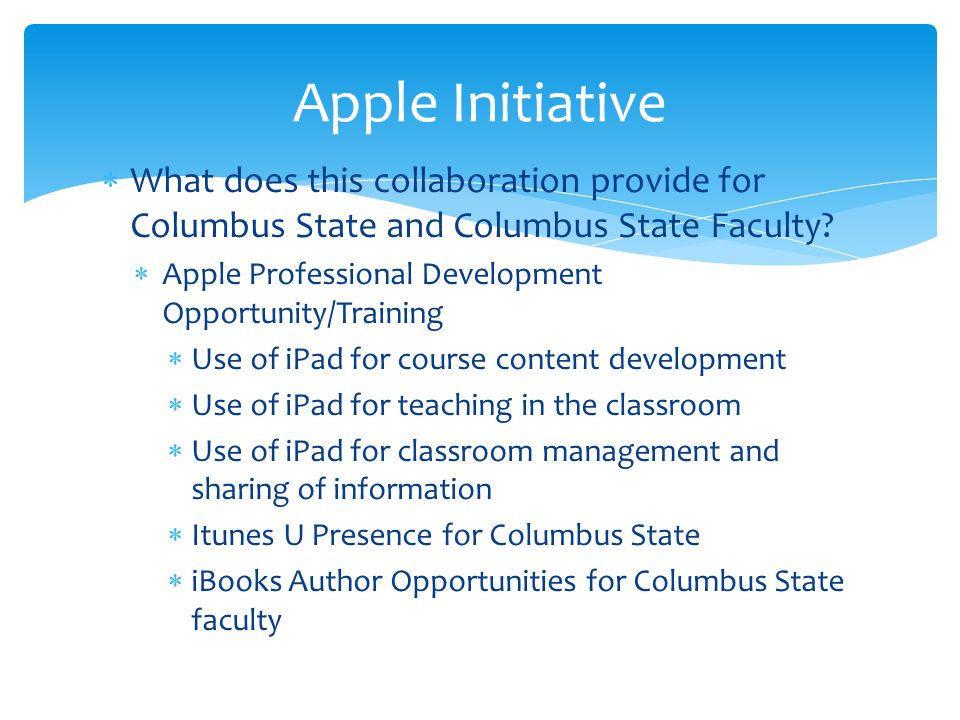  What does this collaboration provide for Columbus State and Columbus State Faculty.