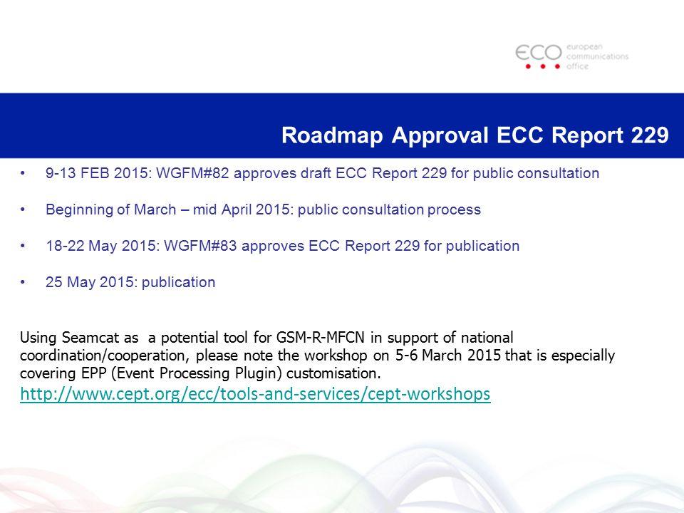 Roadmap Approval ECC Report 229 9-13 FEB 2015: WGFM#82 approves draft ECC Report 229 for public consultation Beginning of March – mid April 2015: publ