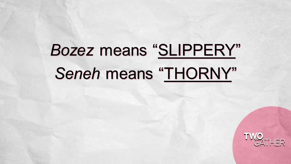 Bozez means SLIPPERY Seneh means THORNY