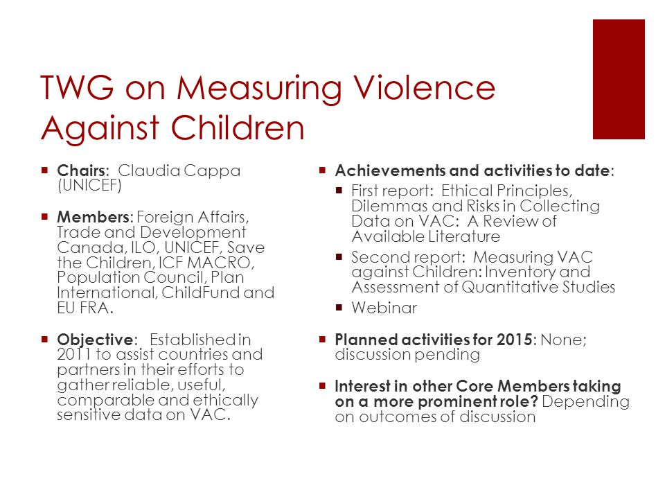 TWG on Measuring Violence Against Children  Chairs : Claudia Cappa (UNICEF)  Members : Foreign Affairs, Trade and Development Canada, ILO, UNICEF, Save the Children, ICF MACRO, Population Council, Plan International, ChildFund and EU FRA.