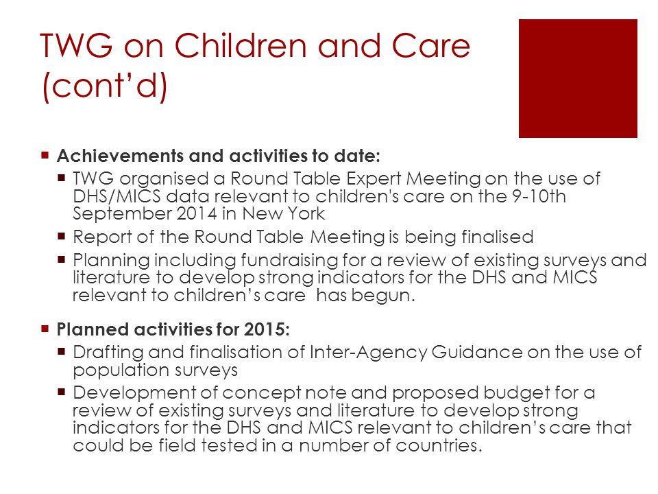 TWG on Children and Care (cont'd)  Achievements and activities to date:  TWG organised a Round Table Expert Meeting on the use of DHS/MICS data relevant to children s care on the 9-10th September 2014 in New York  Report of the Round Table Meeting is being finalised  Planning including fundraising for a review of existing surveys and literature to develop strong indicators for the DHS and MICS relevant to children's care has begun.