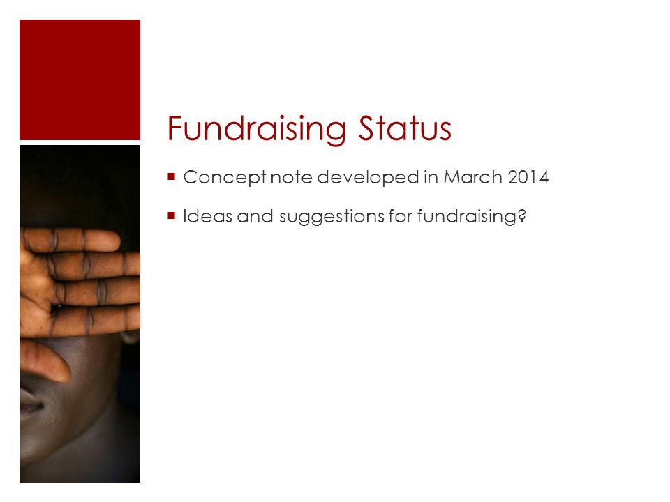 Fundraising Status  Concept note developed in March 2014  Ideas and suggestions for fundraising