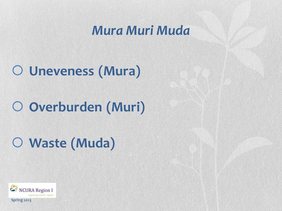 Spring 2013 Mura Muri Muda  Uneveness (Mura)  Overburden (Muri)  Waste (Muda)