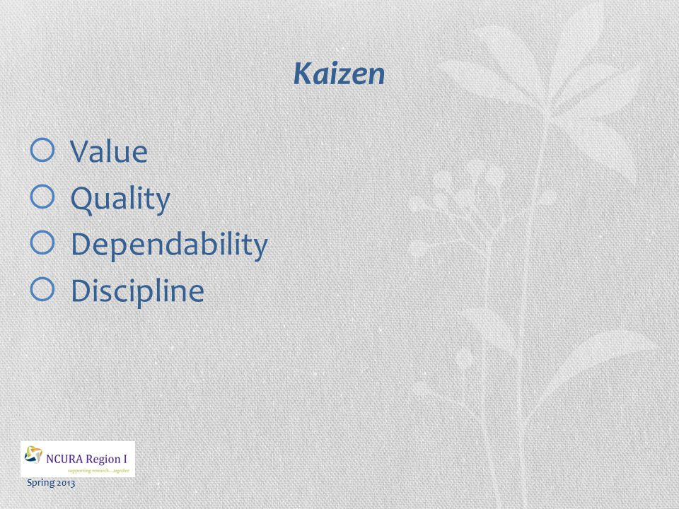 Spring 2013 Kaizen Initiative People Teamwork Problem Solve Cross-functional Empowerment/Autonomy