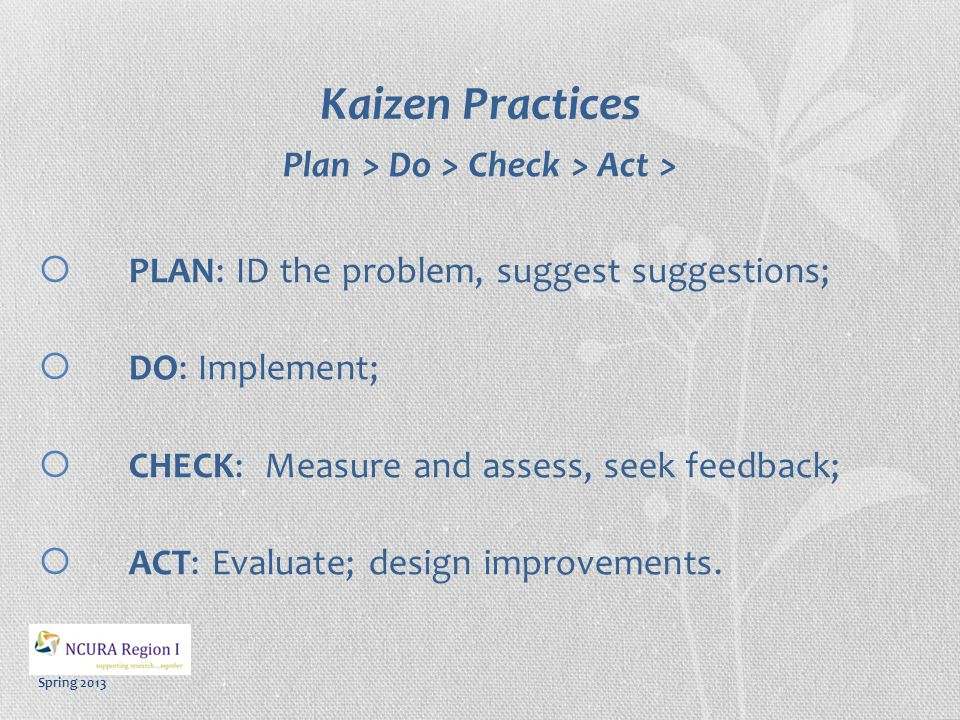 Spring 2013 Kaizen Practices Plan > Do > Check > Act >  PLAN: ID the problem, suggest suggestions;  DO: Implement;  CHECK: Measure and assess, seek feedback;  ACT: Evaluate; design improvements.