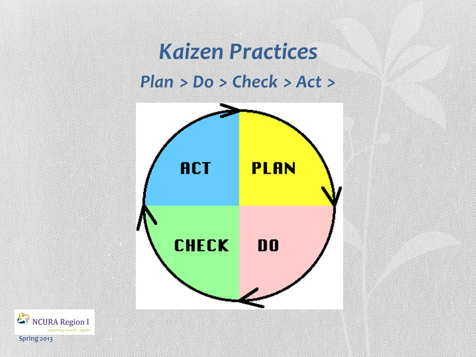 Spring 2013 Kaizen Practices  Focus on the Process  Challenge the Status Quo  Emphasize Training (Learning Organization)  Invite Feedback