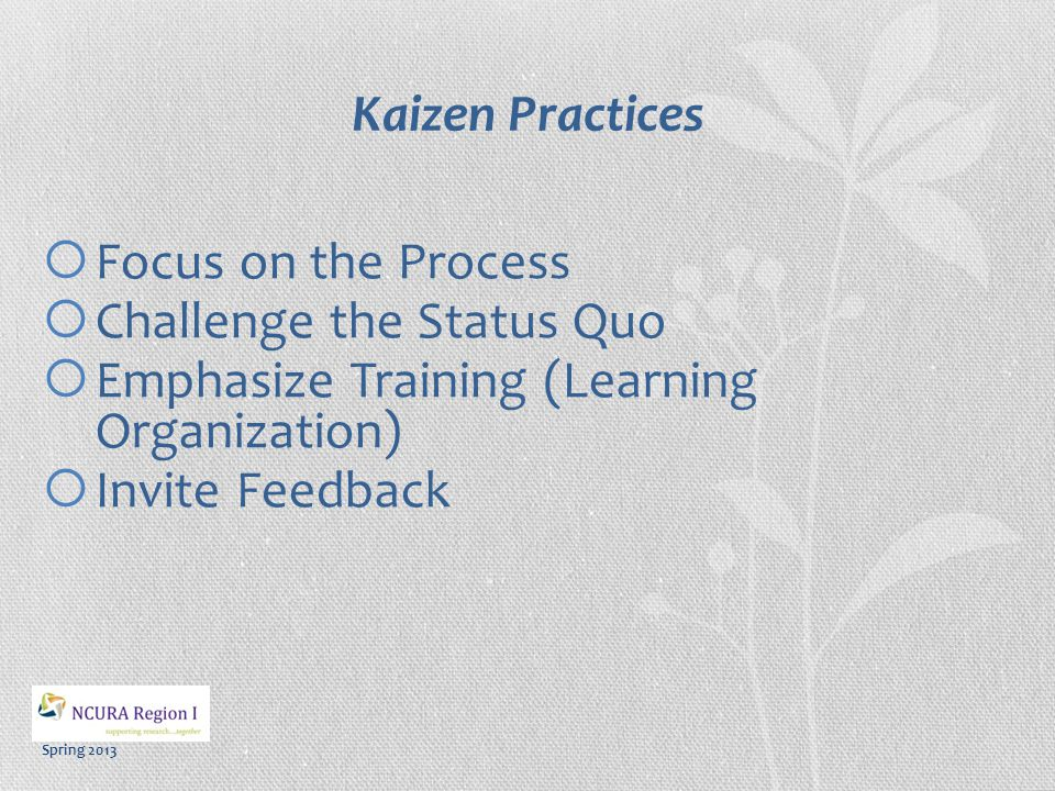 Spring 2013 Kaizen Systems The practice serves as system for obtaining an objective or completing a task by aiding: o Precision o Consistency o Efficiency o Adjusting to Scale o Training & Education