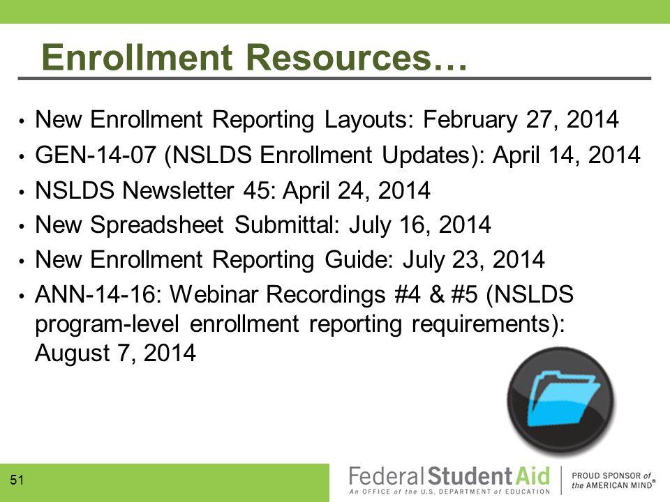 Enrollment Resources… New Enrollment Reporting Layouts: February 27, 2014 GEN-14-07 (NSLDS Enrollment Updates): April 14, 2014 NSLDS Newsletter 45: Ap