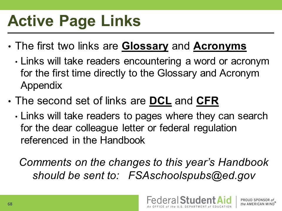 Active Page Links 68 The first two links are Glossary and Acronyms Links will take readers encountering a word or acronym for the first time directly