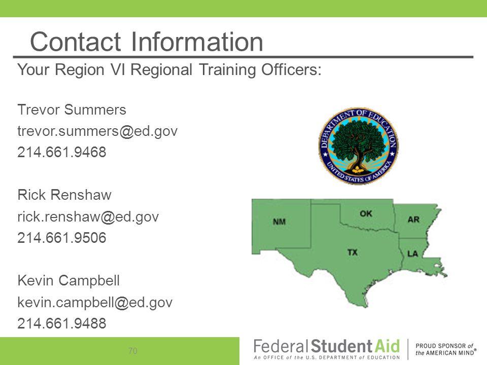 Contact Information Your Region VI Regional Training Officers: Trevor Summers trevor.summers@ed.gov 214.661.9468 Rick Renshaw rick.renshaw@ed.gov 214.