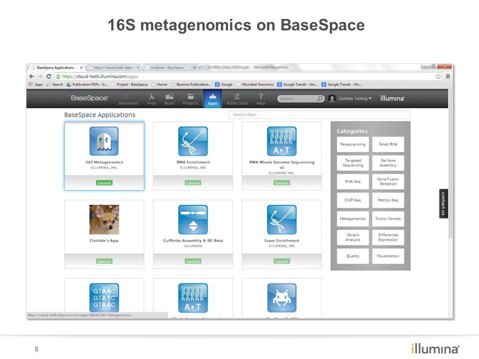 8 16S metagenomics on BaseSpace