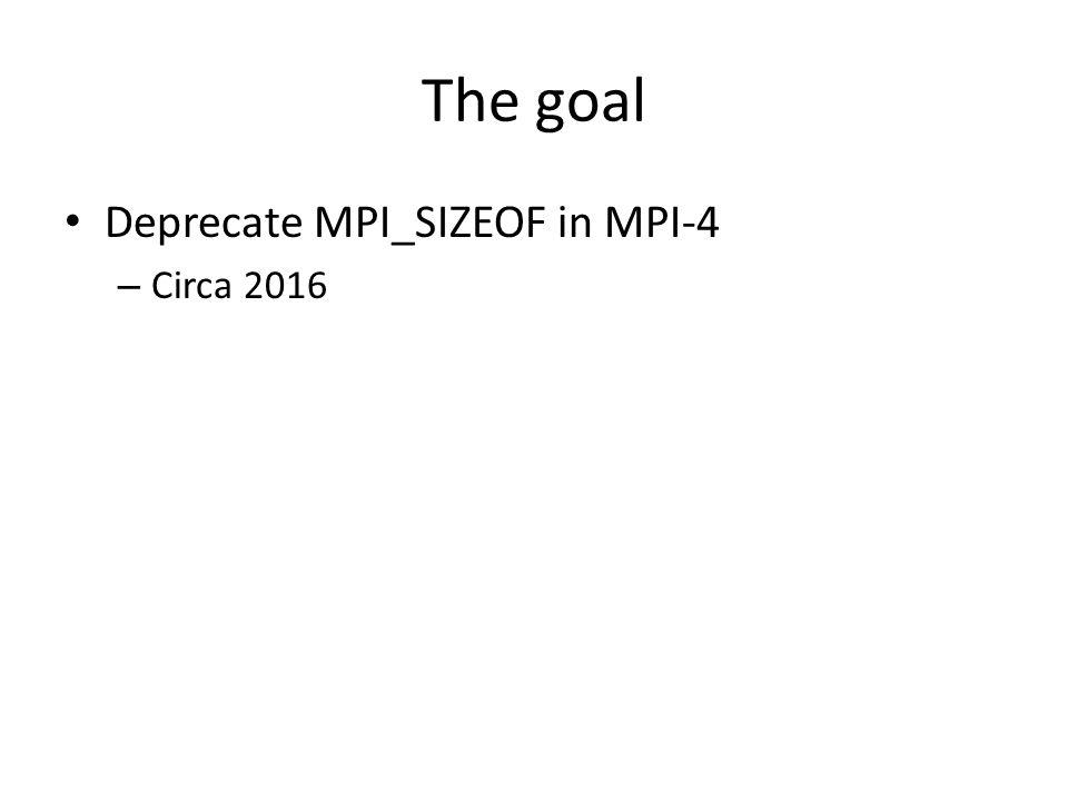 The goal Deprecate MPI_SIZEOF in MPI-4 – Circa 2016