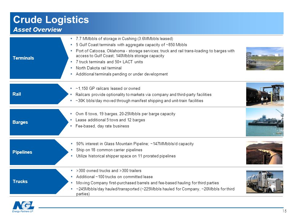 15 Crude Logistics Asset Overview Trucks  >300 owned trucks and >300 trailers  Additional ~100 trucks on committed lease  Moving Company first-purc