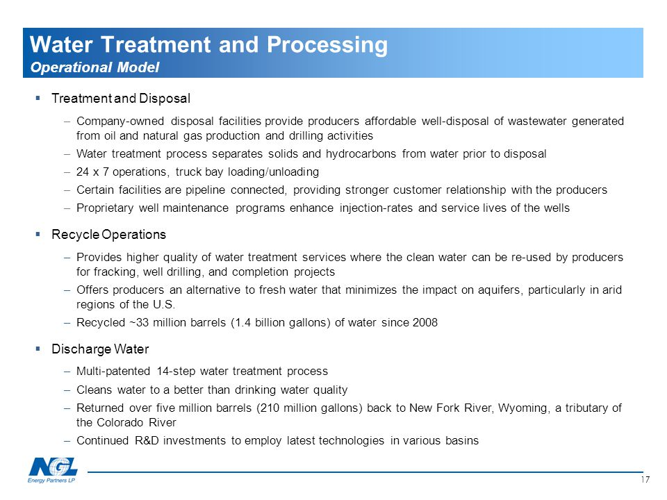 17 Water Treatment and Processing Operational Model  Treatment and Disposal –Company-owned disposal facilities provide producers affordable well-disp