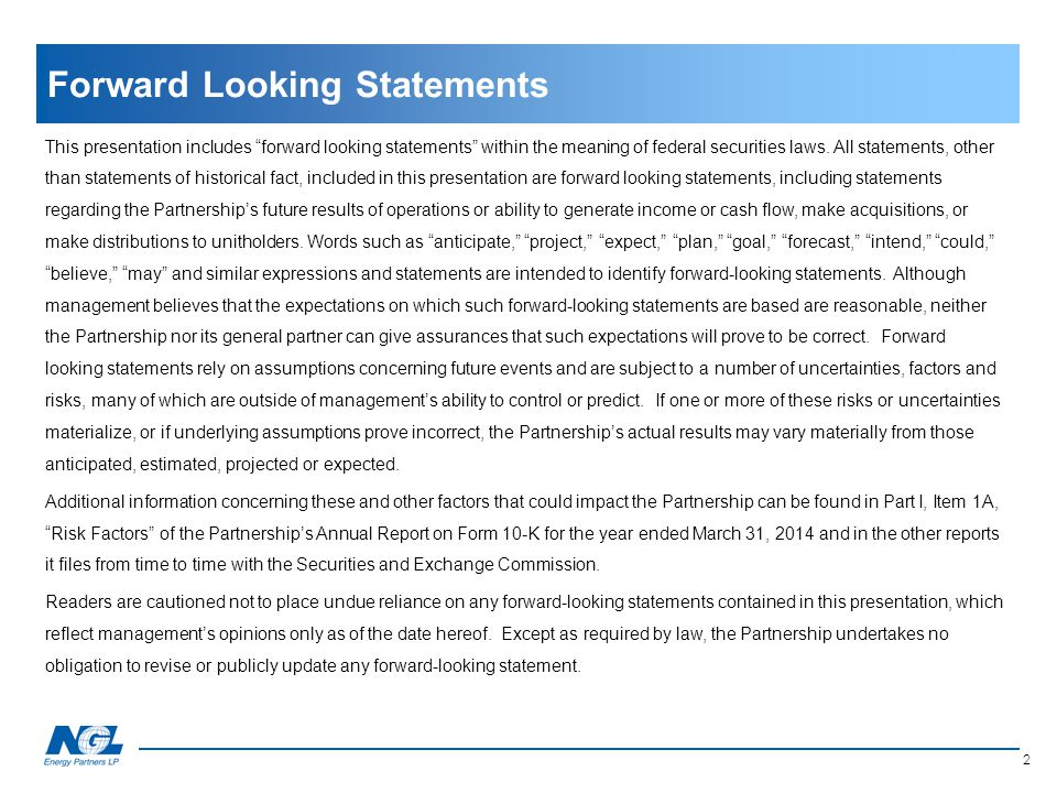 """This presentation includes """"forward looking statements"""" within the meaning of federal securities laws. All statements, other than statements of histor"""