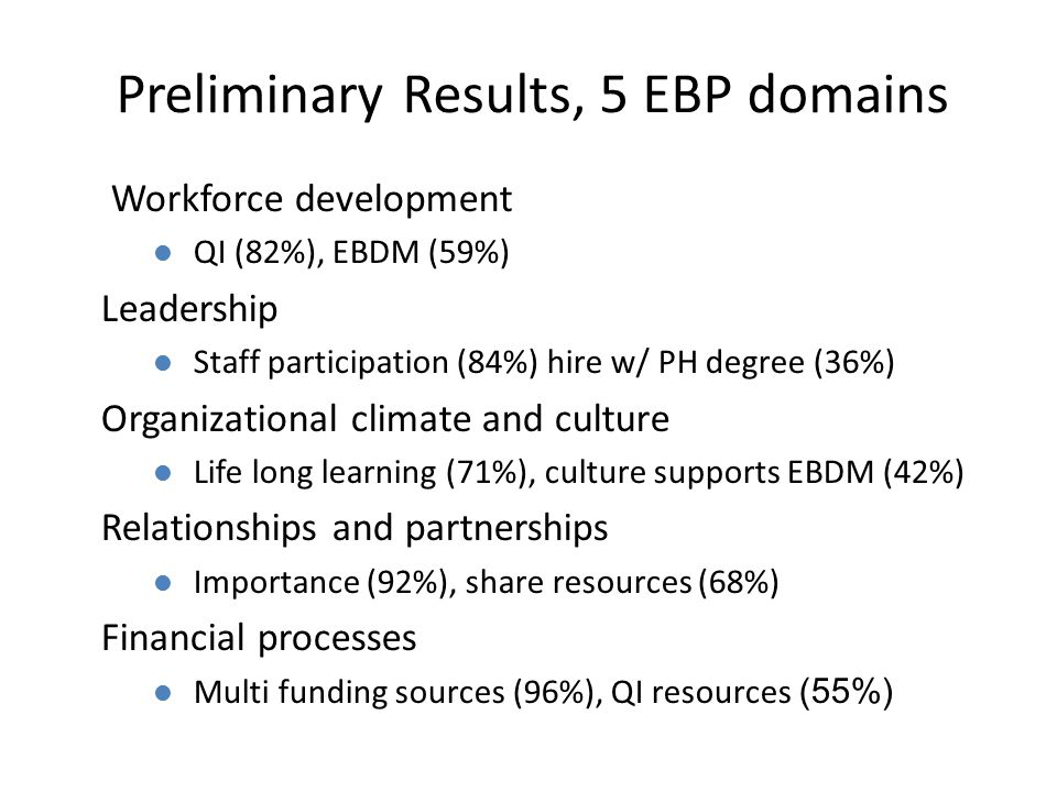 Preliminary Results, 5 EBP domains Workforce development l QI (82%), EBDM (59%) Leadership l Staff participation (84%) hire w/ PH degree (36%) Organiz