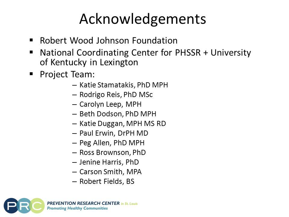 Acknowledgements  Robert Wood Johnson Foundation  National Coordinating Center for PHSSR + University of Kentucky in Lexington  Project Team: – Kat