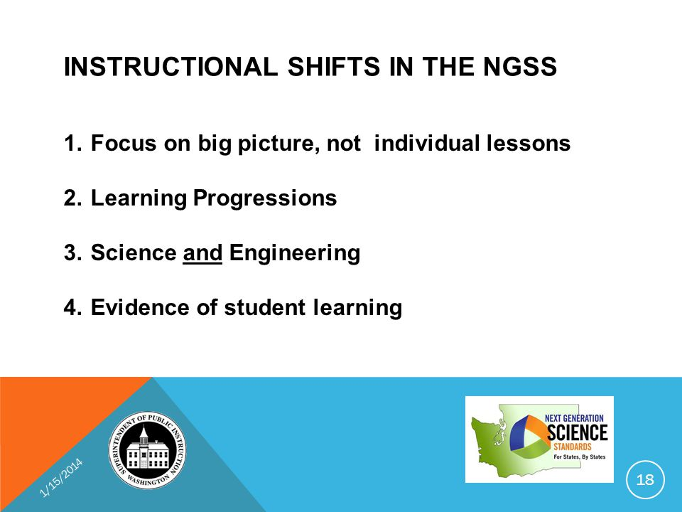 INSTRUCTIONAL SHIFTS IN THE NGSS 1.Focus on big picture, not individual lessons 2.Learning Progressions 3.Science and Engineering 4.Evidence of student learning 1/15/2014 18
