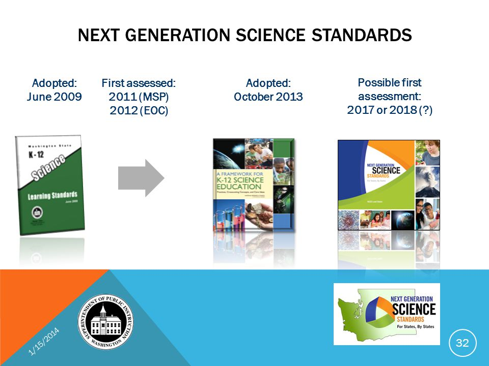 NEXT GENERATION SCIENCE STANDARDS Adopted: June 2009 Adopted: October 2013 First assessed: 2011 (MSP) 2012 (EOC) Possible first assessment: 2017 or 2018 (?) 1/15/2014 32