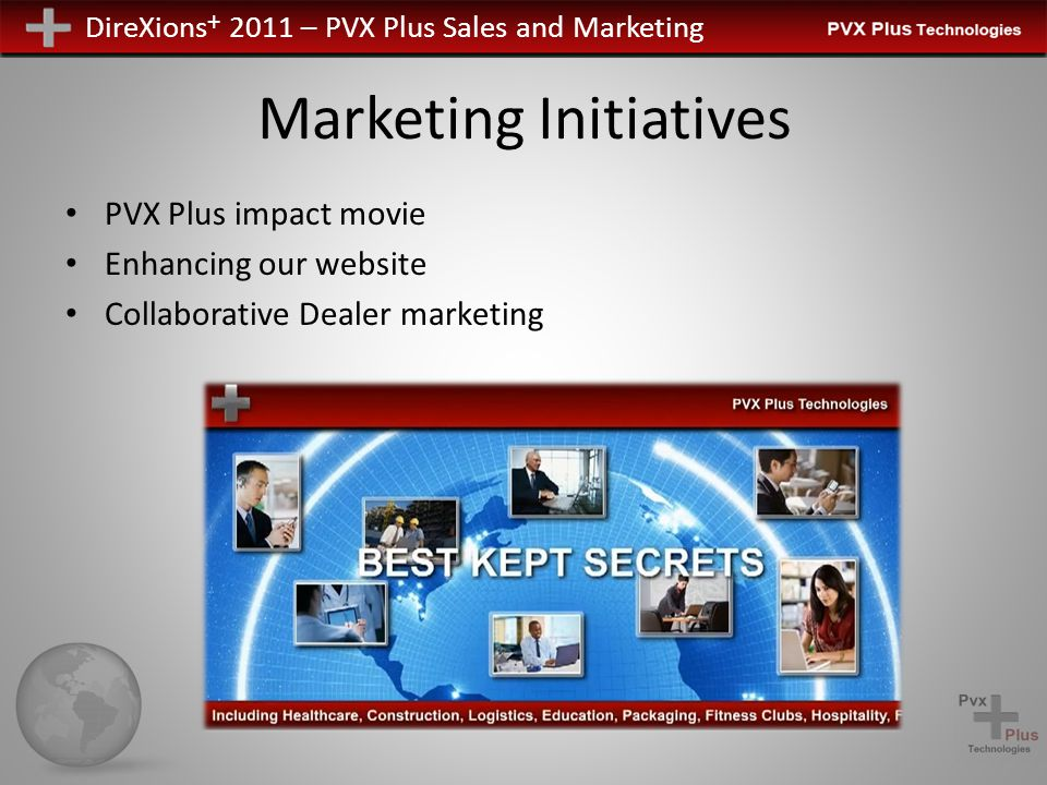 DireXions + 2011 – PVX Plus Sales and Marketing Marketing Initiatives PVX Plus impact movie Enhancing our website Collaborative Dealer marketing