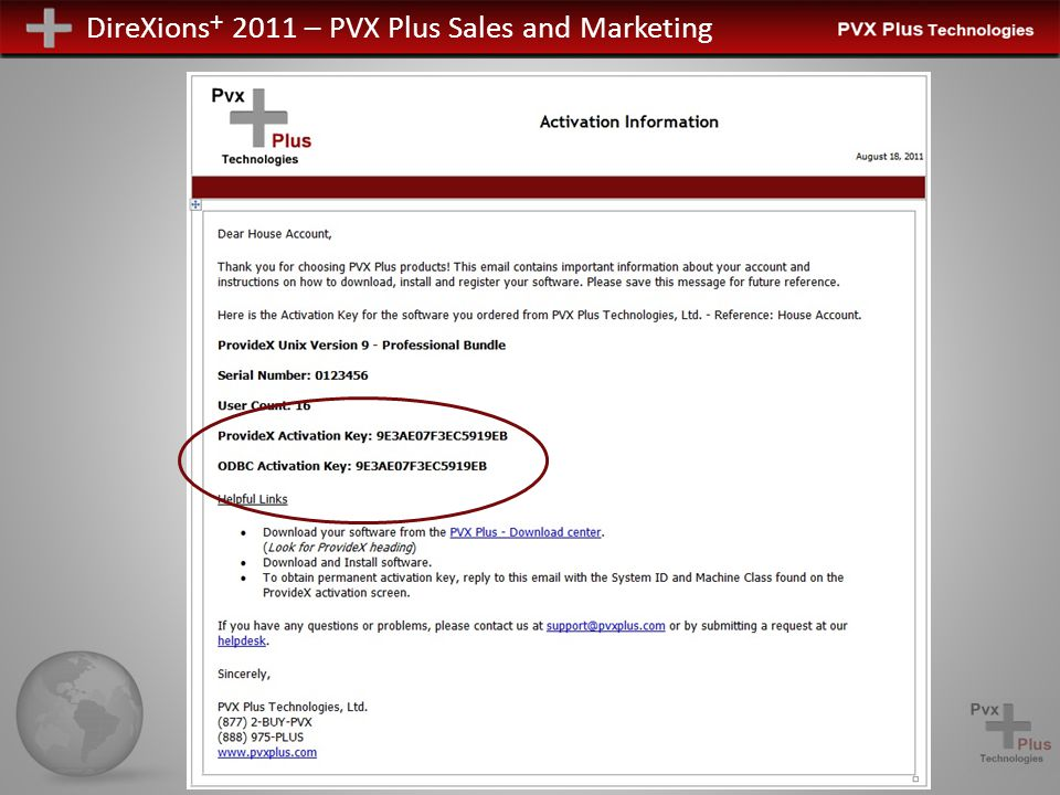 DireXions + 2011 – PVX Plus Sales and Marketing Product Keys