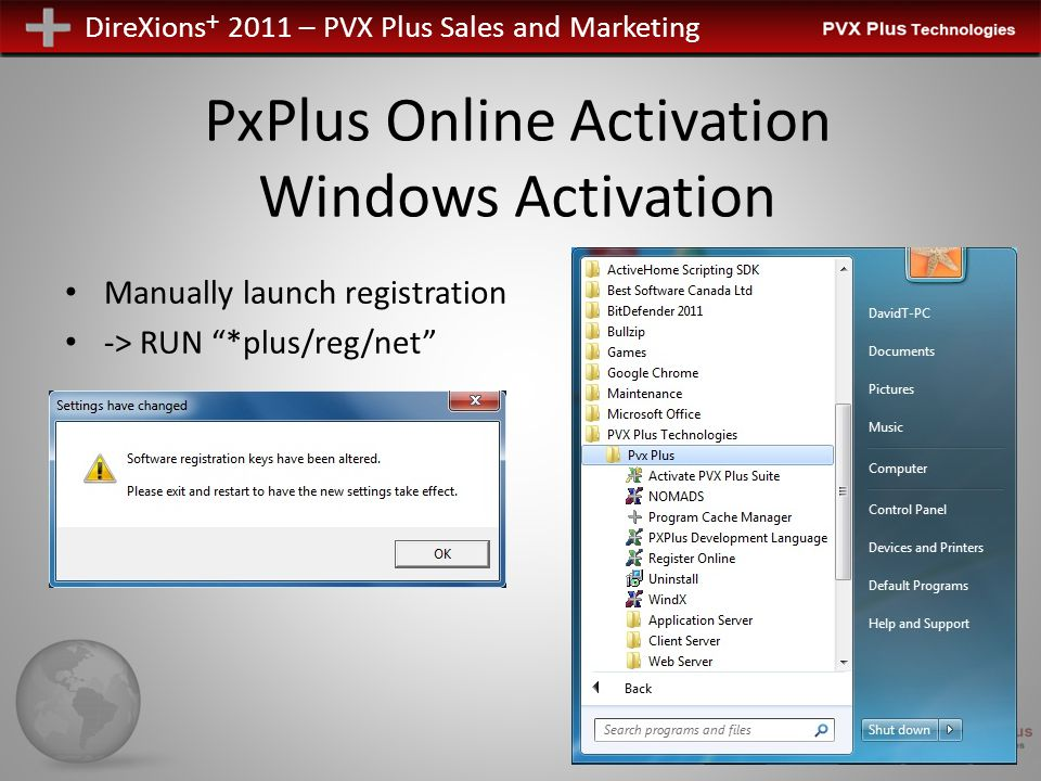 DireXions + 2011 – PVX Plus Sales and Marketing PxPlus Online Activation UNIX/Linux Activation Executable – pxpreg Automated Temporary Manual